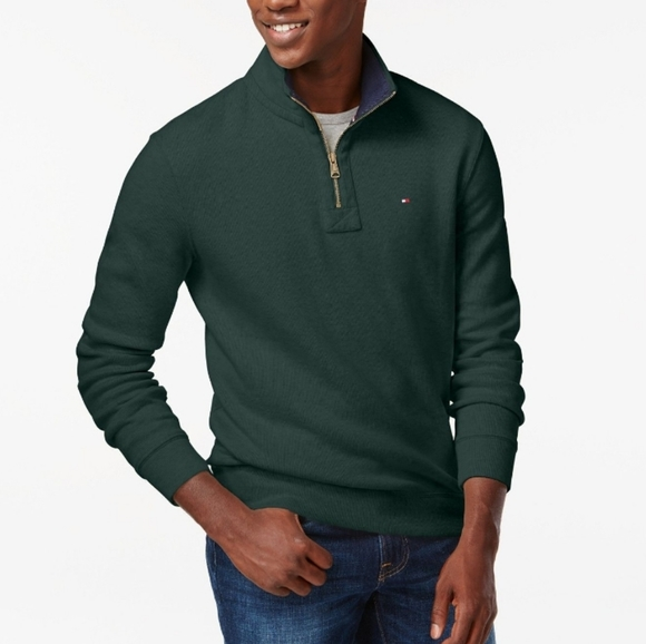 Tommy Hilfiger Mens Ribbed Quarter-Zip Pullover Sweater